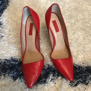 Bright Red Leather Asymmetrical Pumps
